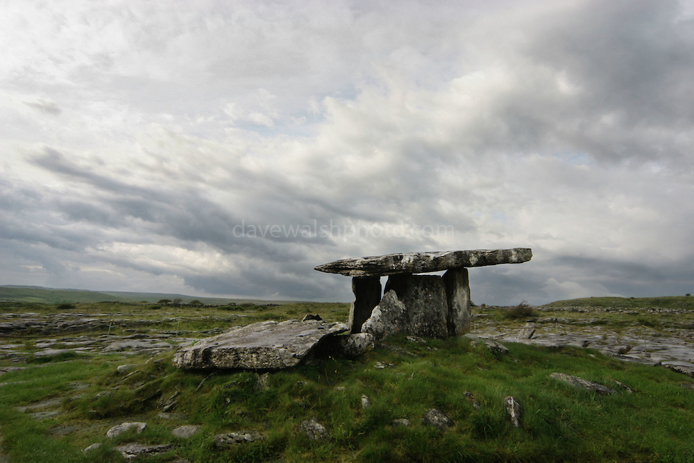 Poulnabrone Dolmen, The Burren, Co. Clare, one of the most dramatic sites of ancient Ireland, amongst the bizarre wilderness of the Burren.