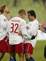 1:1 Jubel v.l. Milan FUKAL, TorschŸtze Naohiro TAKAHARA, Mehdi MAHDAVIKIA<br />FC Bayern München - Hamburger SV 1:1<br />Foto: Digitalsport