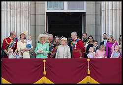 June 8, 2019 - London, London, United Kingdom - Image licensed to i-Images Picture Agency. 08/06/2019. London, United Kingdom. Queen Elizabeth II with members of the Royal family including The Duke and Duchess of Cambridge with their children Prince George, Princess Charlotte and Prince Louis , Duke and Duchess of Sussex on the balcony of Buckingham Palace at Trooping the Colour in London. (Credit Image: © Stephen Lock/i-Images via ZUMA Press)