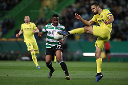 February 14, 2019 - Lisbon, Portugal - Sporting's forward Jovane Cabral from Cabo Verde vies with Villarreal's defender Alfonso Pedraza (R ) during the UEFA Europa League Round of 32 First Leg football match Sporting CP vs Villarreal CF at Alvalade stadium in Lisbon, Portugal on February 14, 2019. (Credit Image: © Pedro Fiuza/ZUMA Wire)
