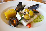 Malmö. Salt & Brygga restaurant serves manly local organic food. Line caught and MSC-certified Hallibut from Greenland with salsa of Viken tomatoes, organic mussels from Bohuslän and horseradish.