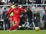 Steven Gerrard of Liverpool warms up with shooting practice before todays game - Barclays Premier League - Newcastle Utd vs Liverpool - St James' Park Stadium - Newcastle Upon Tyne - England - 1st November 2014  - Picture Simon Bellis/Sportimage