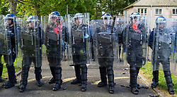 South Queensferry,, Scotland, UK. 16th September 2021. Police Scotland invite the press to witness their ongoing public order training at Craigiehall Camp at South Queensferry. The training is designed to prepare police for the upcoming COP26 event in Glasgow in November where protests are anticipated. Police in riot gear faced up  against police taking the role of protesters throwing missiles and attacking them with clubs. Pic;  Iain Masterton/Alamy Live News.