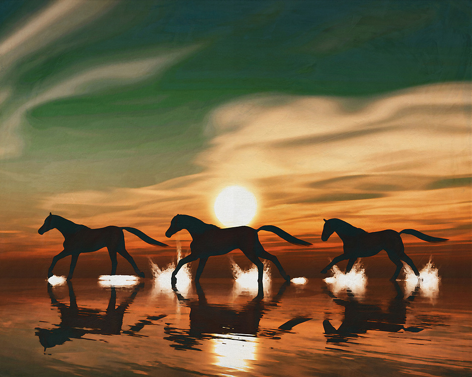 Horses in the sunset by the sea This painting easily brings the atmosphere of the sea to your home. This coastal scene can be printed in different sizes and on different materials. Both on canvas, wood, metal or framed so it certainly fits into your interior. –<br /> -<br /> BUY THIS PRINT AT<br /> <br /> FINE ART AMERICA / PIXELS<br /> ENGLISH<br /> https://janke.pixels.com/featured/horse-at-sunset-6-jan-keteleer.html<br /> <br /> <br /> WADM / OH MY PRINTS<br /> DUTCH / FRENCH / GERMAN<br /> https://www.werkaandemuur.nl/nl/shopwerk/Paard-bij-zonsondergang-galopperend-in-de-zee/778311/132?mediumId=15&size=70x55<br /> –<br /> -