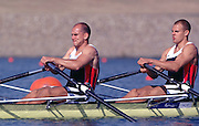 2000 Sydney Olympic Game, Olympic Regatta, Penrith Lakes, Penrith, NSW. AUSTRALIA: NOR M2X Silver medallist, stroke [left] BEKKEN, Fredrik and TUFTE, Olaf. Peter Spurrier. .email images@intersport-images.... 2000 Olympic Regatta Sydney International Regatta Centre (SIRC) 2000 Olympic Rowing Regatta00085138.tif