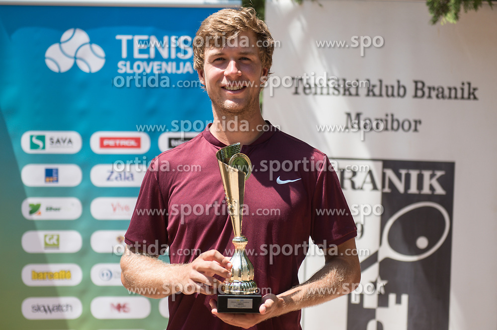 Matic Spec after victory in finals of Drzavno prvenstvo v tenisu za clane in clanice, on June 27th, 2019 in Maribor, Slovenia. Photo by Milos Vujinovic / Sportida