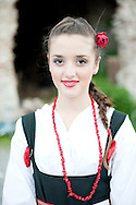 Brodsko kolo, Slavonski Brod, Croatia (9 June 2013). Young girl from Korčula in traditional folk costume. The Brodsko kolo has been running for over 50 years, and is the oldest folk dancing festival in Croatia. © Rudolf Abraham