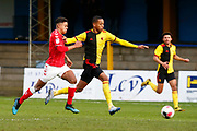 Joao Pedro of Watford holds Johl Powell of Charlton Athletic during under-23 professional development league match between Watford and Charleton Athletic at Charleton Athletic Park Stadium, Monday, Feb. 3, 2020, in St. Albans, United Kingdom. (Mitchell Gunn-ESPA Images/Image of Sport)