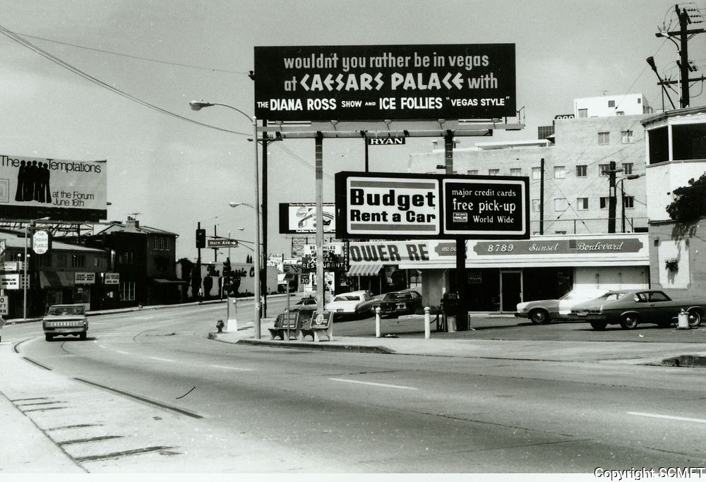 1973 Looking west on Sunset Blvd. at Horn Ave