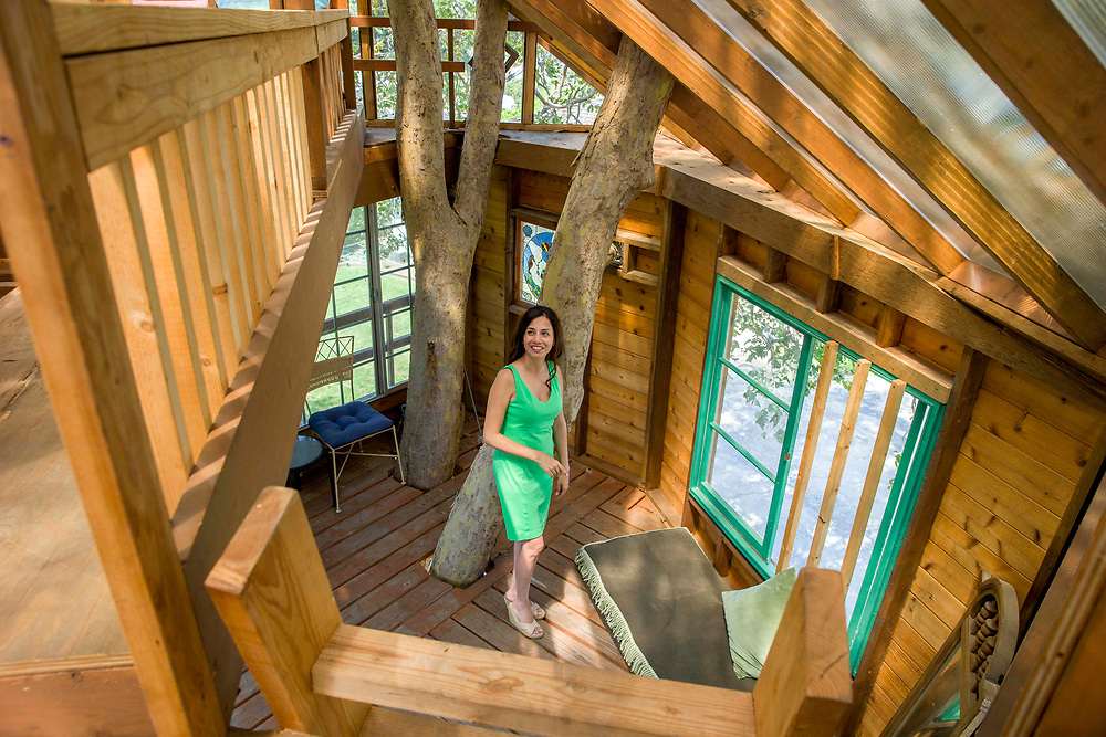 Puneet Sandhu's checks the second floor of her treehouse on Saturday, Aug. 5, 2017, in San Jose, Calif. The second floor has two bedrooms. One for her and the other for her children.