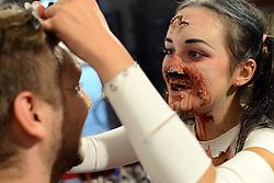 THEMENBILD - das Festival der Spaziergänger findet jedes Jahr in der kroatischen Stadt Varazdin statt. Während der zehn Tage der Veranstaltung wird die Stadt zu einer bunten Strassenunterhaltungs Bühne, zur Stadt des Lachens und der Freude, im Bild young makeup artist Ema Kerekes preparing the first zombie walk through Varazdin. Aufgenommen am 28.08.2013 // THEMES PICTURE - The festival takes place every year the walkers in the Croatian town of Varazdin during the ten days of the event the city into a colorful street entertainment stage, to the city of laughter and joy. EXPA Pictures © 2013, PhotoCredit: EXPA/ Pixsell/ Marko Jurinec<br /> <br /> ***** ATTENTION - for AUT, SLO, SUI, ITA, FRA only *****