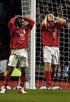 Fotball<br /> Privatlandskamp<br /> England v Nederland<br /> 9. februar 2005<br /> Foto: Digitalsport<br /> NORWAY ONLY<br /> Shaun Wright-Phillips cannot believe he fired  his first attempt on goal a mile wide