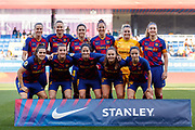 FC Barcelona players pose for a team photo prior to kick off during the Spanish women's league Primera Iberdrola match between FC Barcelona ladies and Sporting Huelva ladies at Johan Cruyff Stadium, Sunday, Feb. 16,  in Barcelona, Spain.