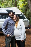 Van camping in the Cascade Mountains, Oregon.
