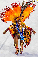 A Carnaval princess in the Carnaval parade of Unidos de Vila Isabel samba school in the Sambadrome, Rio de Janeiro, Brazil.