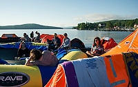 "A relaxing morning for rafters on Saturday during the Make A Wish ""Rafting for Wishes"" event at Hesky Park and Meredith Bay over the weekend.  (Karen Bobotas/for the Laconia Daily Sun)"