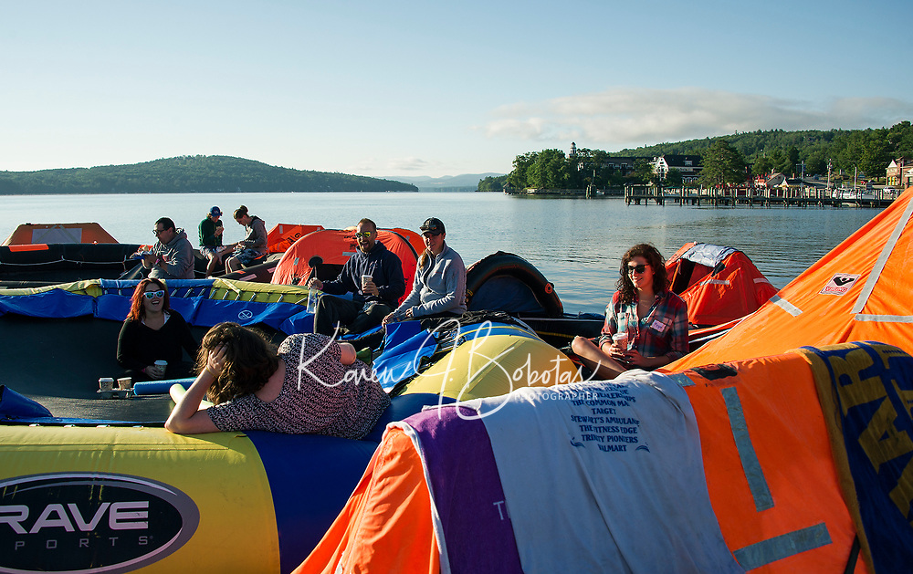 """A relaxing morning for rafters on Saturday during the Make A Wish """"Rafting for Wishes"""" event at Hesky Park and Meredith Bay over the weekend.  (Karen Bobotas/for the Laconia Daily Sun)"""