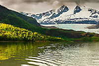 Mendenhall Lake and Mendenhall Glacier, Juneau, Alaska USA.
