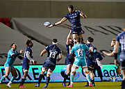 Sale Sharks lock JP Du Preez collects a re-start during the Gallagher Premiership match Sale Sharks -V- Worcester Warriors at The AJ Bell Stadium, Greater Manchester,England United Kingdom, Friday, January 08, 2021. (Steve Flynn/Image of Sport)