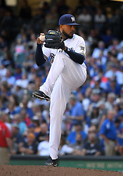 June 13, 2018 - Milwaukee, WI, U.S. - MILWAUKEE, WI - JUNE 13: Milwaukee Brewers Pitcher Jeremy Jeffress (32) delivers a pitch during a MLB game between the Milwaukee Brewers and Chicago Cubs on June 13, 2018 at Miller Park in Milwaukee, WI. The Brewers defeated the Cubs 1-0.(Photo by Nick Wosika/Icon Sportswire) (Credit Image: © Nick Wosika/Icon SMI via ZUMA Press)