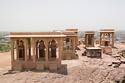 India, Rajasthan, Jodhpur, Mehrangarh fort The tombs of the city rulers.