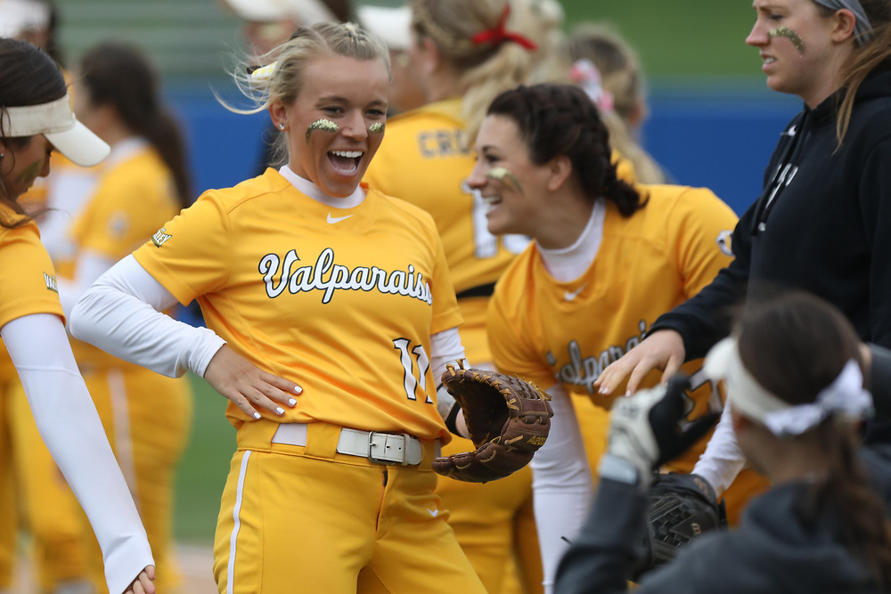 WEST DES MOINES, IOWA - May 11: The Indiana State Sycamores play against the Valparaiso Crusaders in the Missouri Valley Conference Softball Championship tournament on Friday, May 11, 2018 at Ron Buel Field in Des Moines, Iowa. The Crusaders defeated the Sycamores, 3-2. (Photo by Dylan Heuer)