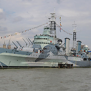 HMS Belfast on 18 July 2019, City of London, UK.