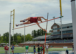 Hanover junior Anna Stafford clears the bar in the girls pole vault event at the NHIAA Division II track and field championship at UNH on Saturday, May 25, 2019.  (Alan MacRae/Valley News)