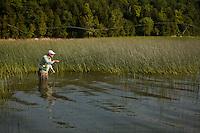 fly angler Drew Price casting on Lake Champlain, Vermont