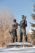 Sculpture dedicated to Komsomol (Young Communist League) of the 1930s Komsomolsk-on-Amur.Siberia, Russia