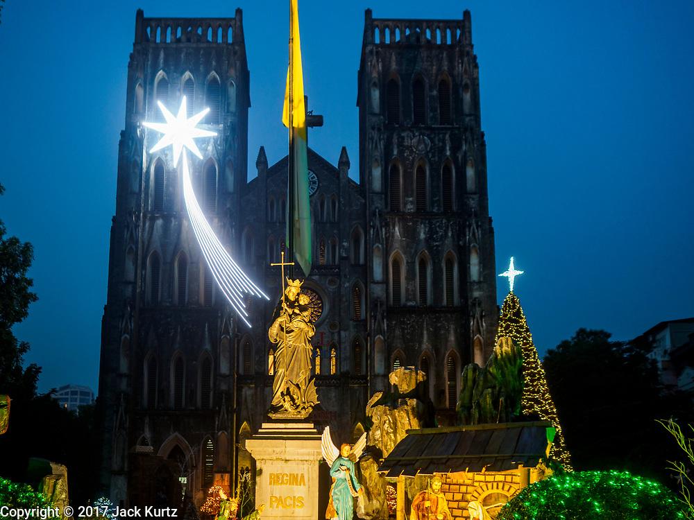 26 DECEMBER 2017 - HANOI, VIETNAM: The front of St. Joseph's Cathedral in Hanoi.     PHOTO BY JACK KURTZ