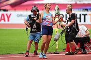 Barbara Spotakova (CZE) celebrates her winning throw in the Javelin during the Muller Anniversary Games at the London Stadium, London, England on 9 July 2017. Photo by Jon Bromley.
