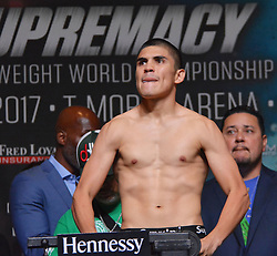 September 15, 2017 - Las Vegas, Nevada, United States of America - Boxer Diego De La Hoya attends the weigh in ceremony for his super bantamweight bout against NABF Super bantamweight champion Randy Caballero  on September14, 2017 at the MGM Grand  Garden Arena in Las Vegas, Nevada (Credit Image: © Marcel Thomas via ZUMA Wire)