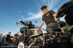 Kevin Waters riding his 1931 Sunbeam M9 at the hosted dinner stop at Hells Canyon Harley-Davidson in Lewiston, Idaho after Stage 14 - (284 miles) of the Motorcycle Cannonball Cross-Country Endurance Run, which on this day ran from Meridian to Lewiston, Idaho, USA. Friday, September 19, 2014.  Photography ©2014 Michael Lichter.