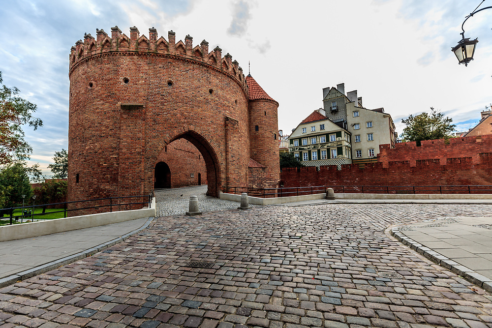 The Barbican and City Walls in Warsaw, Poland. Barbican is the oldest part of fortifications. Venetian Giovanni Battista built it in 1548.