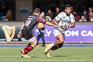 Rey Lee-Lo (R) of the Cardiff Blues runs at Dorian Jones (R) of the Newport Gwent Dragons. Guinness Pro12 rugby match, Cardiff Blues v Newport Gwent Dragons at the Cardiff Arms Park in Cardiff, South Wales on Sunday 17th April 2016.<br /> pic by Simon Latham, Andrew Orchard sports photography.