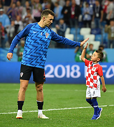 NIZHNY NOVGOROD, June 21, 2018  Croatia's player Ivan Perisic and his son are seen on the field after the 2018 FIFA World Cup Group D match between Argentina and Croatia in Nizhny Novgorod, Russia, June 21, 2018. Croatia won 3-0. (Credit Image: © Li Ga/Xinhua via ZUMA Wire)