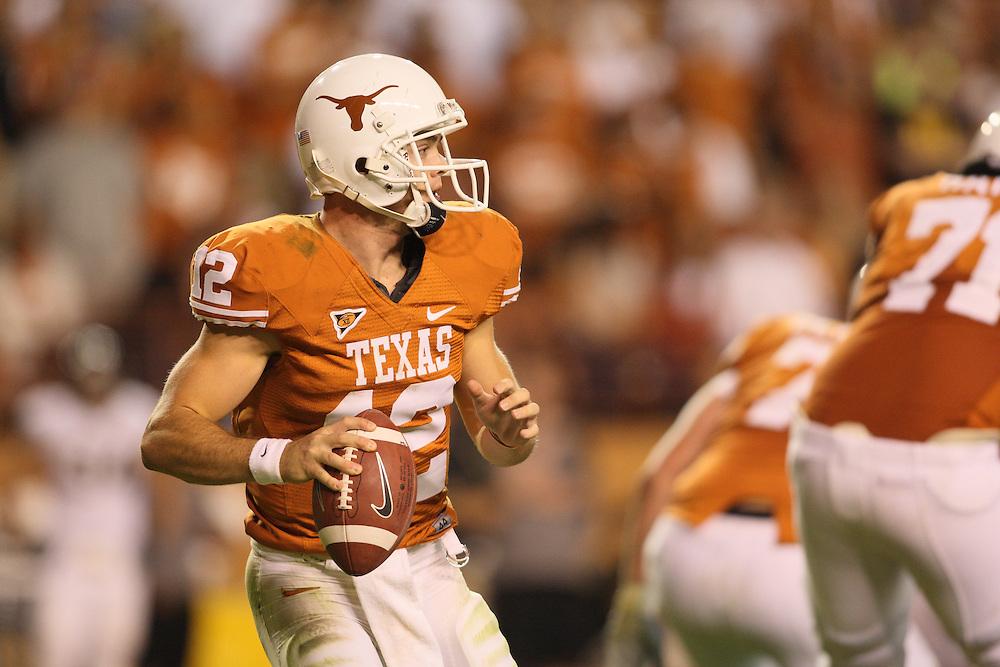 Colt McCoy, #12, Quarterback, Texas Longhorns. Missouri at Texas. Darrell K. Royal-Texas Memorial Stadium, Austin, Texas, Saturday, October 18, 2008. Photograph © 2008 Darren Carroll
