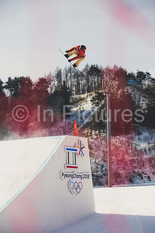 Seppe Smits, Belgium, during the mens snowboard big air qualification at the Pyeongchang 2018 Winter Olympics on February 21st 2018, at the Alpensia Ski Jumping Centre in Pyeongchang-gun, South Korea