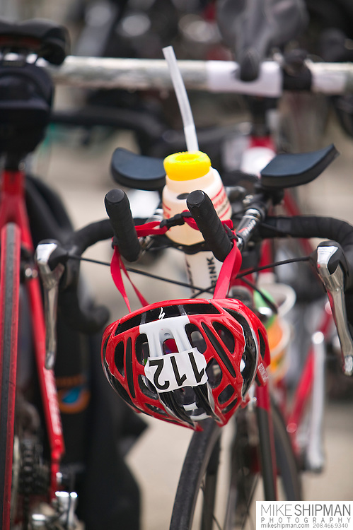 Idaho, Ada County, Boise, Boise 70.3 Ironman, bicycles at Transition Area 1, Lucky Peak Reservoir