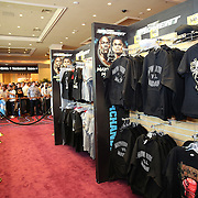 """Merchandise tents are set up in the lobby of the MGM Grand Garden Arena prior to the official weigh-ins for the Mayweather versus Maidana boxing match slated as """"The Moment"""", at the MGM Grand hotel on Friday, May 2, 2014 in Las Vegas, Nevada.  (AP Photo/Alex Menendez)"""