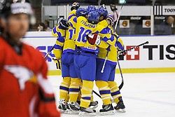 25.04.2010, Eishalle, IJssportcentrum, Tilburg, NED, IIHF Division I WM, Gruppe A, Österreich vs Ukraine im Bild Team Ukraine celebrates the equaliser, EXPA Pictures © 2010, PhotoCredit/ EXPA/ Fintan Planting / SPORTIDA PHOTO AGENCY