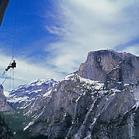 "ROCK CLIMBING, Jared Ogden (MR) on ""Electric Ladyland"", Washington Column, Yosemite NP. Half Dome bkg."