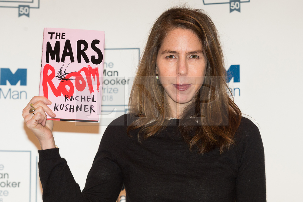 © Licensed to London News Pictures. 14/10/2018. London, UK. Author Rachel Kushner poses with her book The Mars Room during a photocall at the Royal Festival Hall, two days ahead of the announcement of the winning book of the 2018 Man Booker Prize. Six novelists have been shortlisted for the 2018 Man Booker Prize, a literary prize awarded for the best original novel in English credit: PhotoRay Tang/LNP