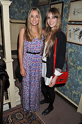 Left to right, FLORENCE BRUDENELL-BRUCE and EDIE CAMPBELL at a dinner hosted by Edward Taylor and Alexandra Meyers in association with Johnnie Walker Blue Label held at Mark's Club, 46 Charles Street, London W1 on 26th April 2012.
