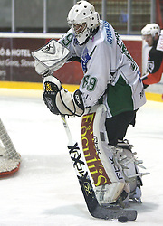 Goalkeeper of Olimpija Matija Pintaric at 2nd final match of Slovenian National Championships  between HK Acroni Jesenice and HDD Tilia Olimpija, on March 17, 2009, in Podmezaklja, Jesenice, Slovenia. Acroni Jesenice won after free shots 2:1 and are leading 2:0. They need to win 2-times more. (Photo by Vid Ponikvar / Sportida)