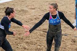 Emi van Driel in action. The DELA NK Beach volleyball for men and women will be played in The Hague Beach Stadium on the beach of Scheveningen on 22 July 2020 in Zaandam.