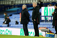 Everton Manager Carlo Ancelotti and West Ham United Manager David Moyes watch the action during the Premier League match between Everton and West Ham United at Goodison Park, Liverpool, England on 1 January 2021.