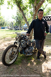 Japanese custom bike builder Chica (Yasuyoshi Chikazawa) with a new custom build at the Born-Free Vintage Motorcycle show at Oak Canyon Ranch, Silverado, CA, USA. Sunday, June 23, 2019. Photography ©2019 Michael Lichter.