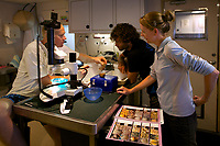 14/February/2013 Western Australia. Exmouth.<br /> Científicos del AIMS, Instituto de Ciencias Marinas de Australia estudian muestras de coral en el barco oceanográfico Solander.<br /> <br /> <br /> © JOAN COSTA